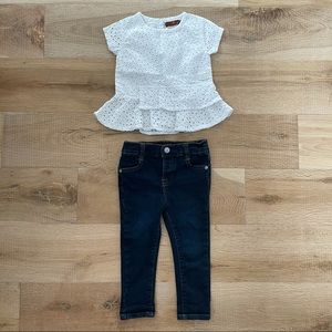 7 For All Mankind Girls Jeans & Top Outfit 24M